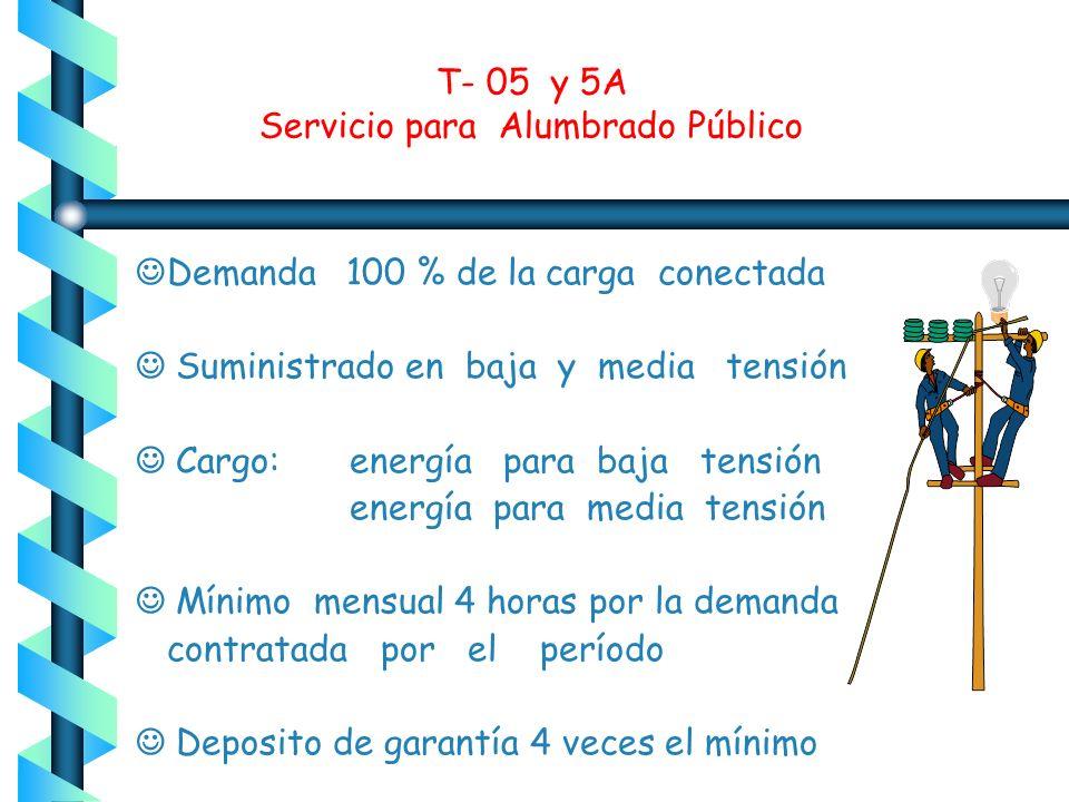 T- 05 y 5A Servicio para Alumbrado Público