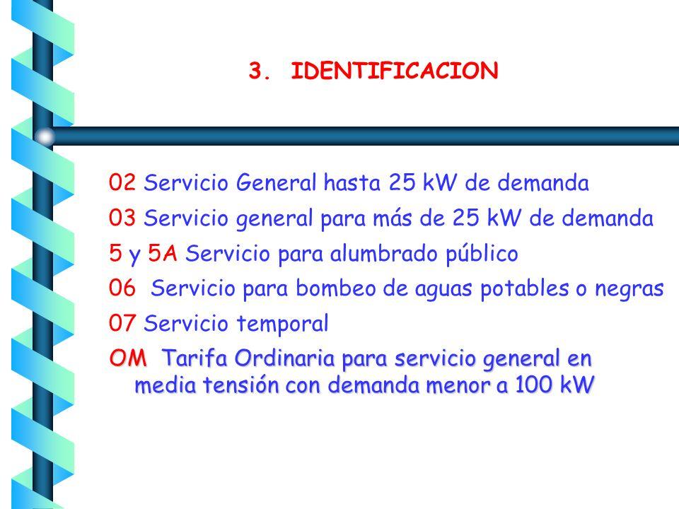 3. IDENTIFICACION 02 Servicio General hasta 25 kW de demanda. 03 Servicio general para más de 25 kW de demanda.