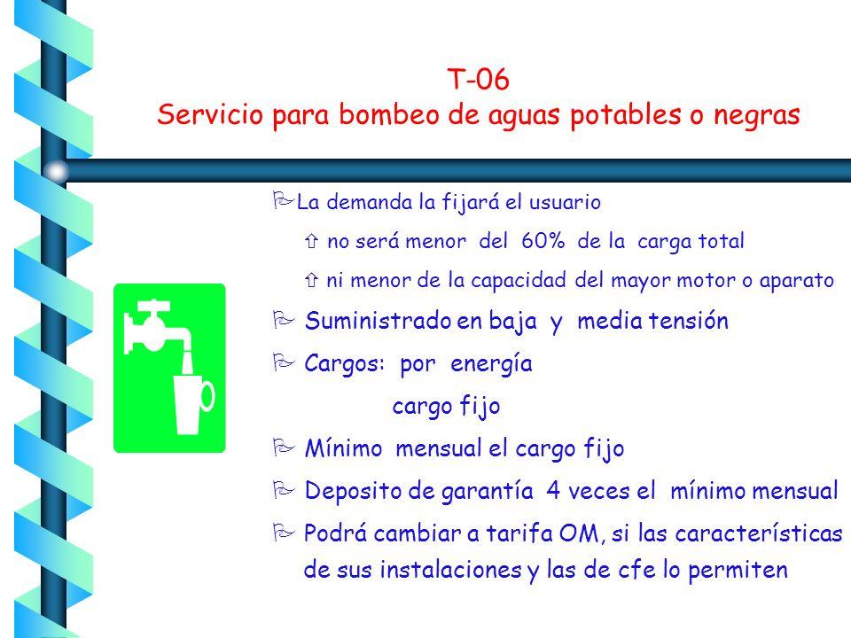T-06 Servicio para bombeo de aguas potables o negras