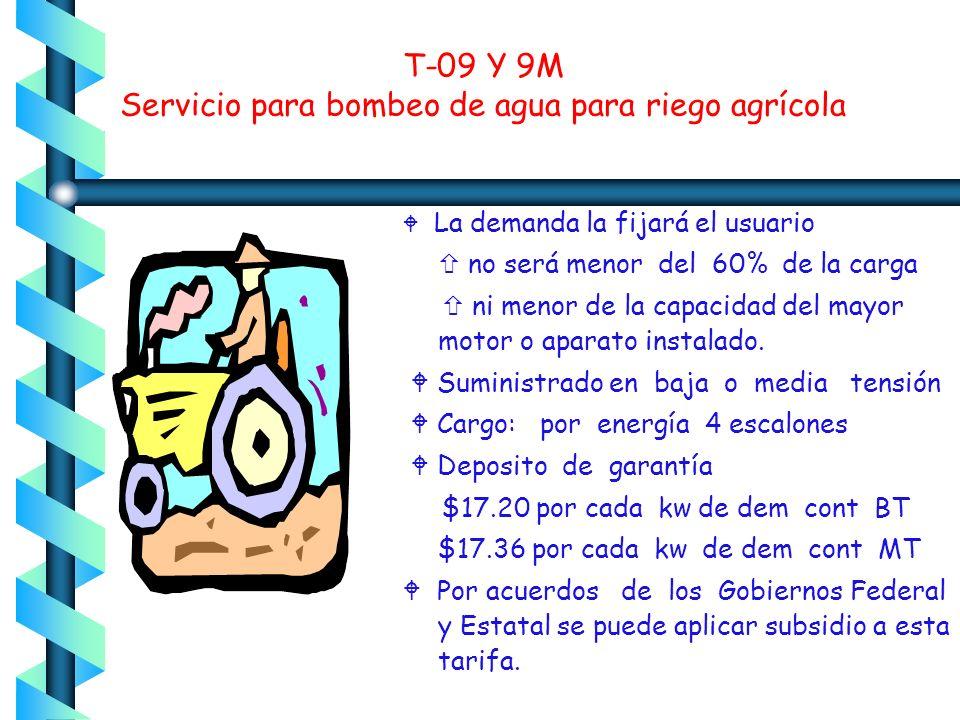 T-09 Y 9M Servicio para bombeo de agua para riego agrícola