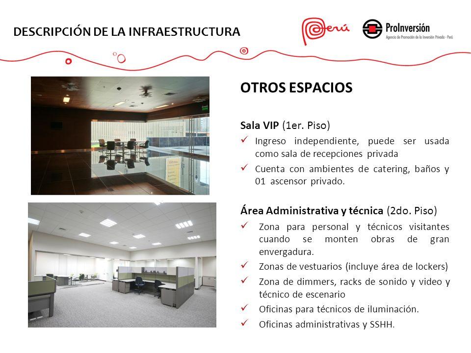 OTROS ESPACIOS DESCRIPCIÓN DE LA INFRAESTRUCTURA Sala VIP (1er. Piso)