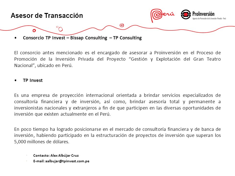 Asesor de Transacción Consorcio TP Invest – Bissap Consulting – TP Consulting.