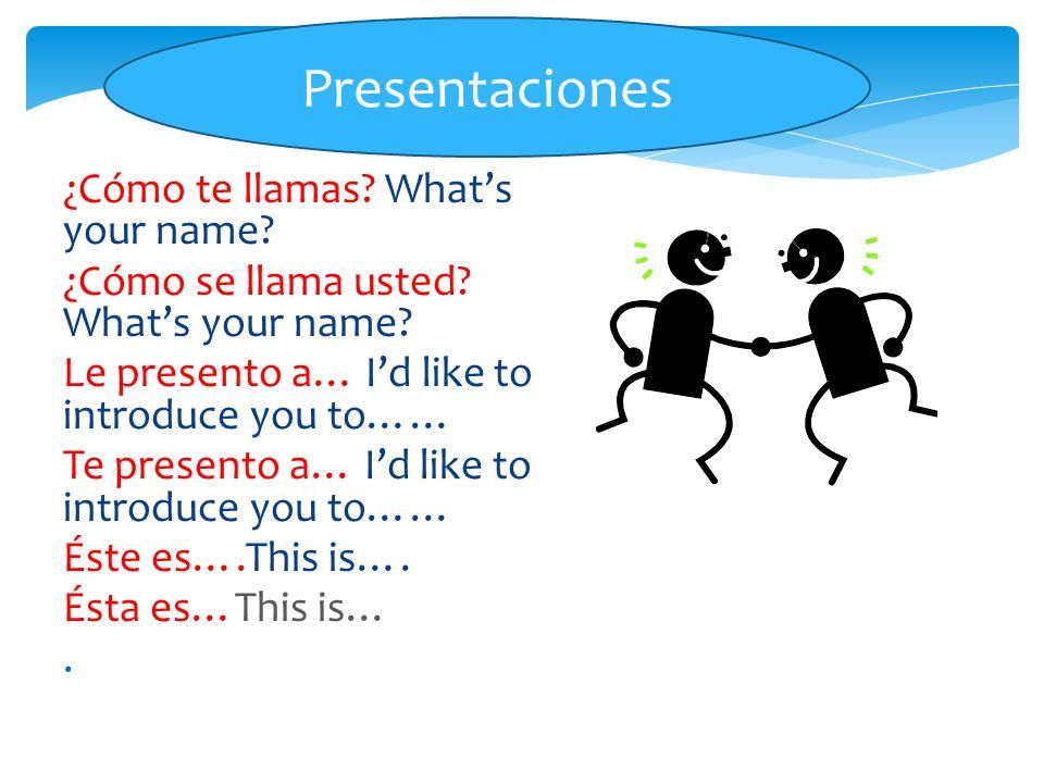 Presentaciones ¿Cómo te llamas What's your name