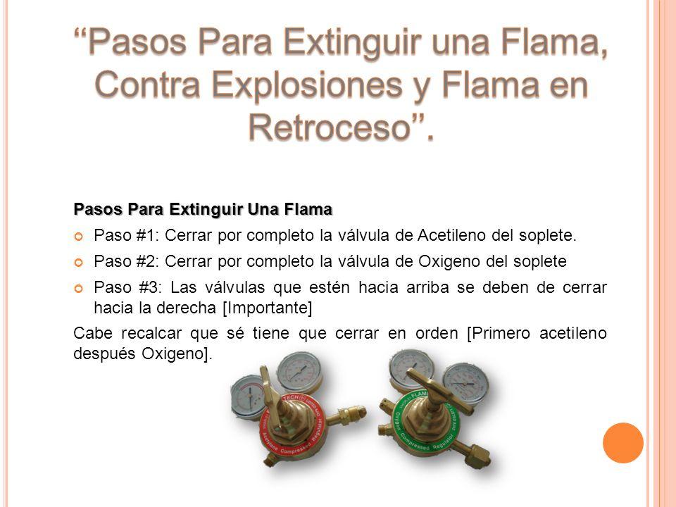 ''Pasos Para Extinguir una Flama, Contra Explosiones y Flama en Retroceso''.