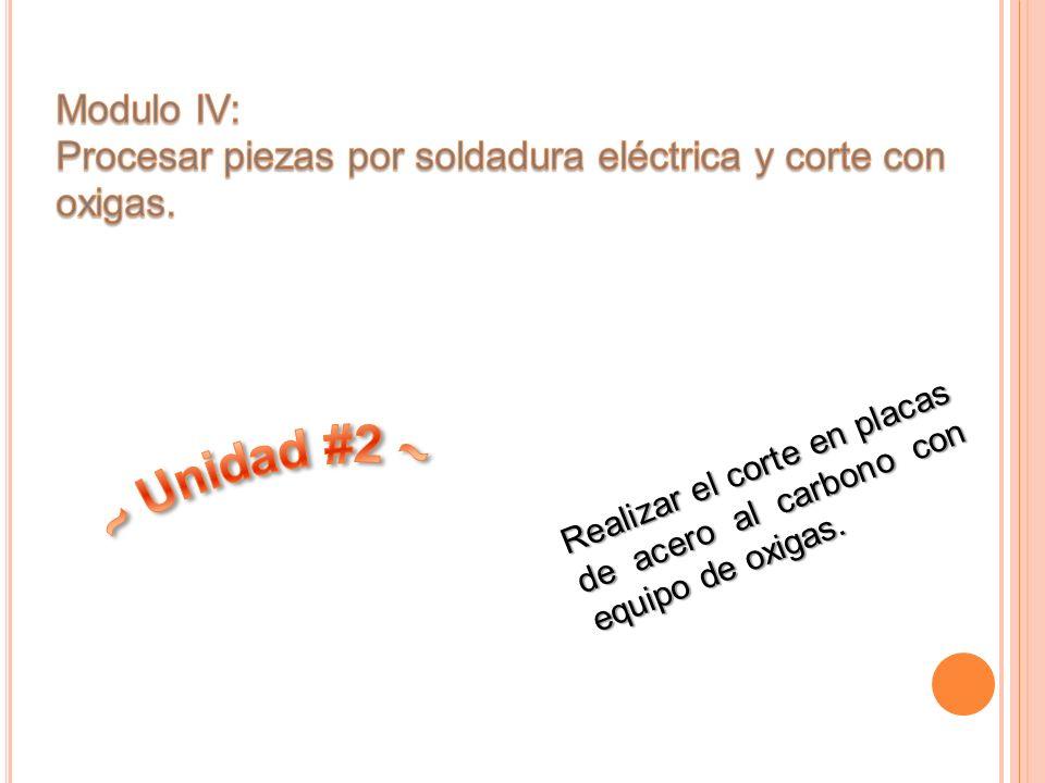 Modulo IV: Procesar piezas por soldadura eléctrica y corte con oxigas.