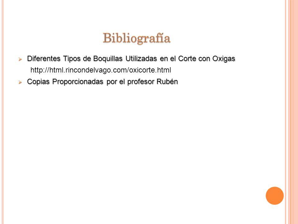 Bibliografía Diferentes Tipos de Boquillas Utilizadas en el Corte con Oxigas. http://html.rincondelvago.com/oxicorte.html.