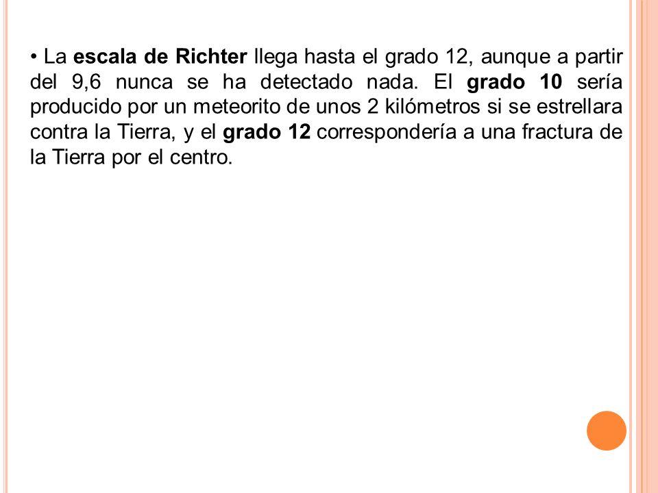 La escala de Richter llega hasta el grado 12, aunque a partir del 9,6 nunca se ha detectado nada.
