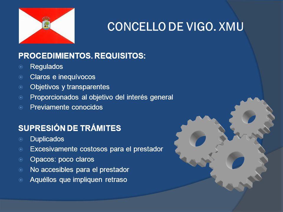 CONCELLO DE VIGO. XMU PROCEDIMIENTOS. REQUISITOS: