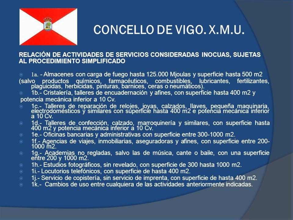 CONCELLO DE VIGO. X.M.U. RELACIÓN DE ACTIVIDADES DE SERVICIOS CONSIDERADAS INOCUAS, SUJETAS. AL PROCEDIMIENTO SIMPLIFICADO.