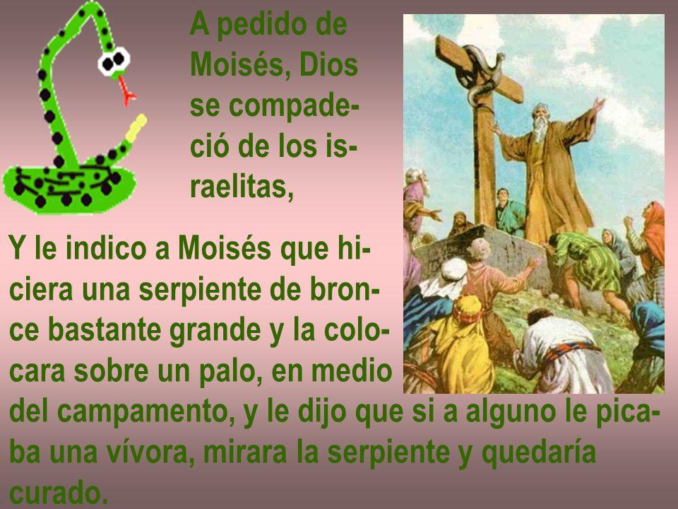 A pedido de Moisés, Dios. se compade- ció de los is- raelitas, Y le indico a Moisés que hi- ciera una serpiente de bron-