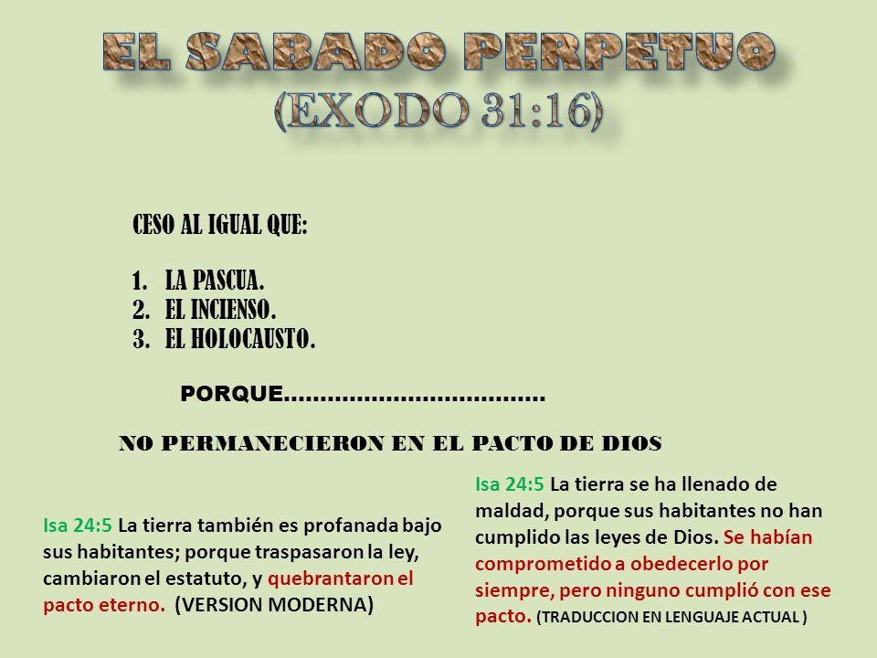 EL SABADO PERPETUO (EXODO 31:16)