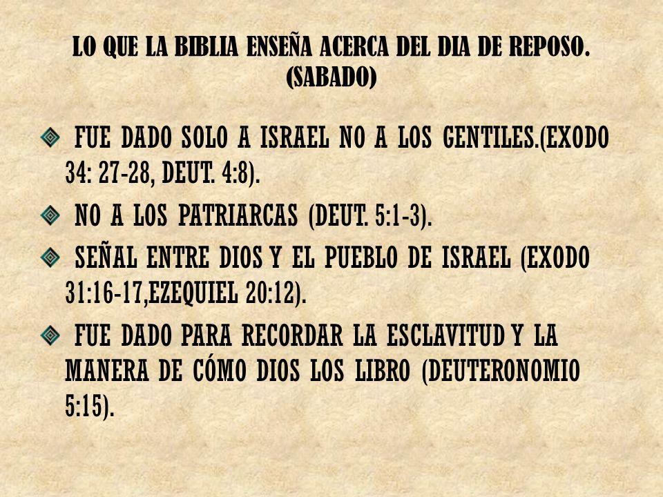 LO QUE LA BIBLIA ENSEÑA ACERCA DEL DIA DE REPOSO. (SABADO)