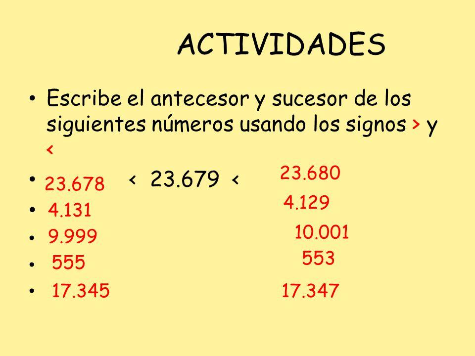 ACTIVIDADES Escribe el antecesor y sucesor de los siguientes números usando los signos > y < < 23.679 <