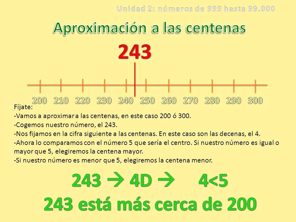 Unidad 2: números de 999 hasta 99.000 Aproximación a las centenas