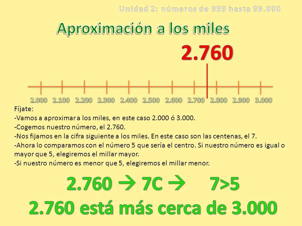 Unidad 2: números de 999 hasta 99.000 Aproximación a los miles
