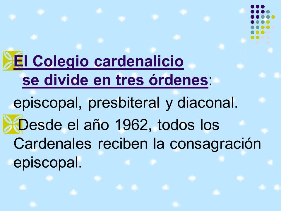 El Colegio cardenalicio se divide en tres órdenes:
