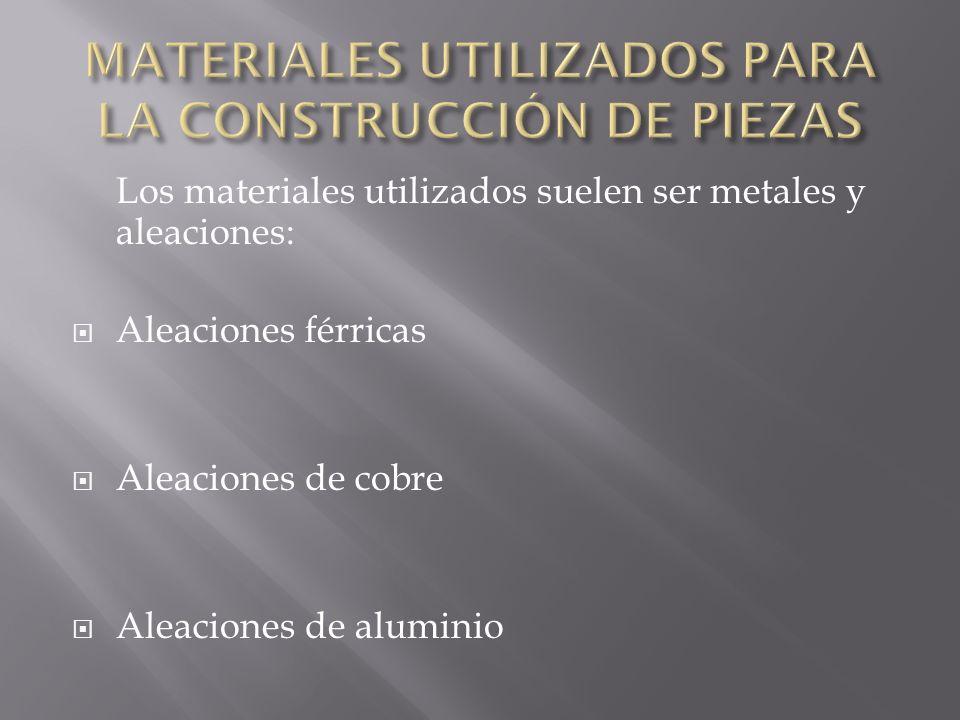 MATERIALES UTILIZADOS PARA LA CONSTRUCCIÓN DE PIEZAS