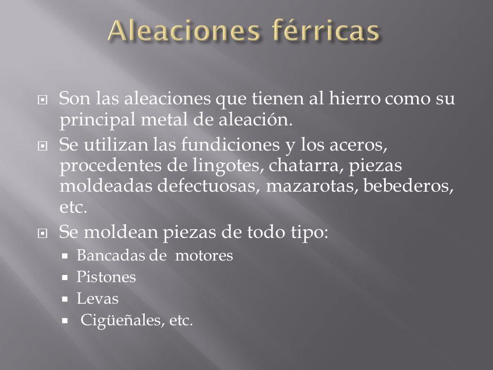 Aleaciones férricas Son las aleaciones que tienen al hierro como su principal metal de aleación.