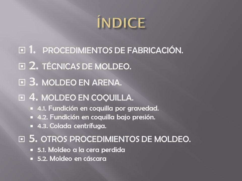 ÍNDICE 1. PROCEDIMIENTOS DE FABRICACIÓN. 2. TÉCNICAS DE MOLDEO.