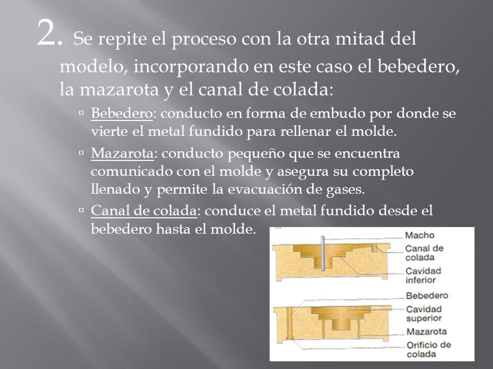 2. Se repite el proceso con la otra mitad del modelo, incorporando en este caso el bebedero, la mazarota y el canal de colada: