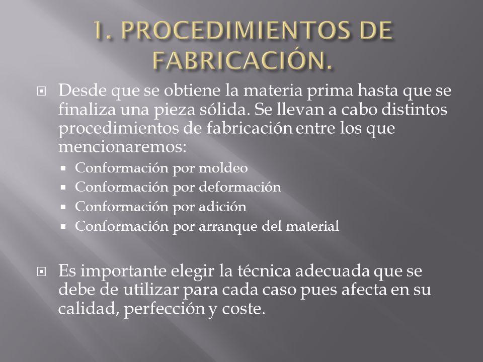 1. PROCEDIMIENTOS DE FABRICACIÓN.