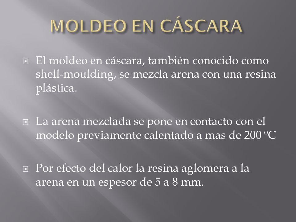 MOLDEO EN CÁSCARA El moldeo en cáscara, también conocido como shell-moulding, se mezcla arena con una resina plástica.