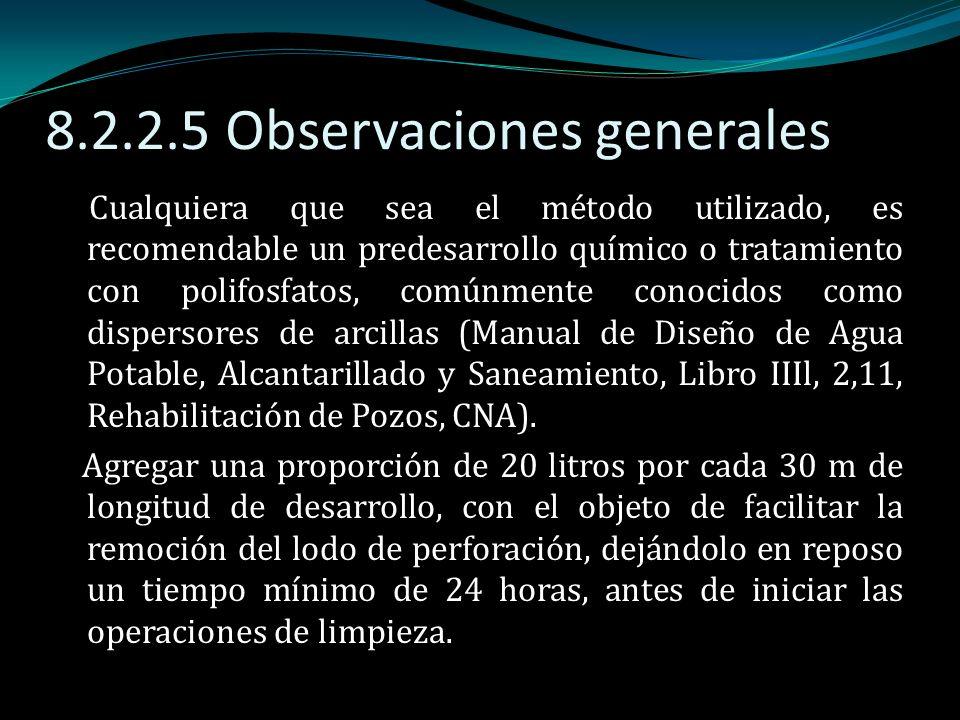 8.2.2.5 Observaciones generales