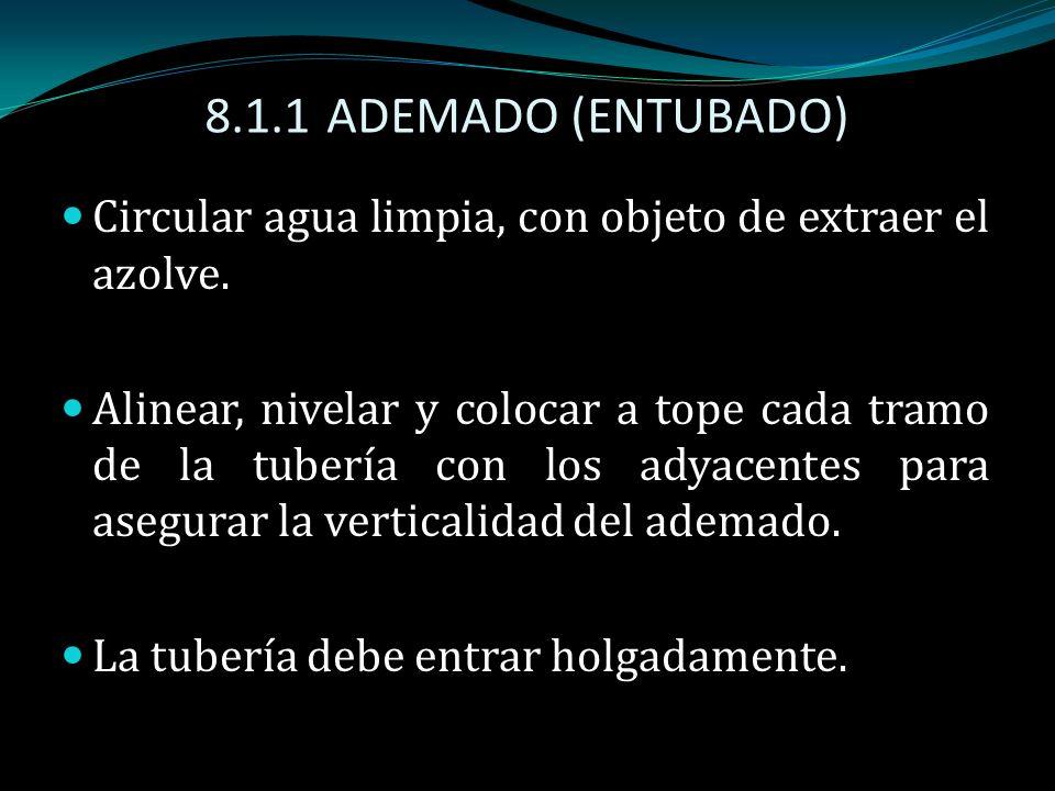 8.1.1 ADEMADO (ENTUBADO) Circular agua limpia, con objeto de extraer el azolve.