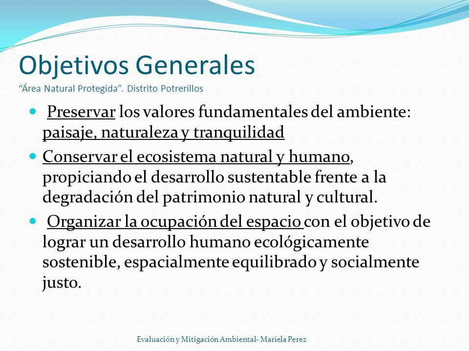 Objetivos Generales Área Natural Protegida . Distrito Potrerillos