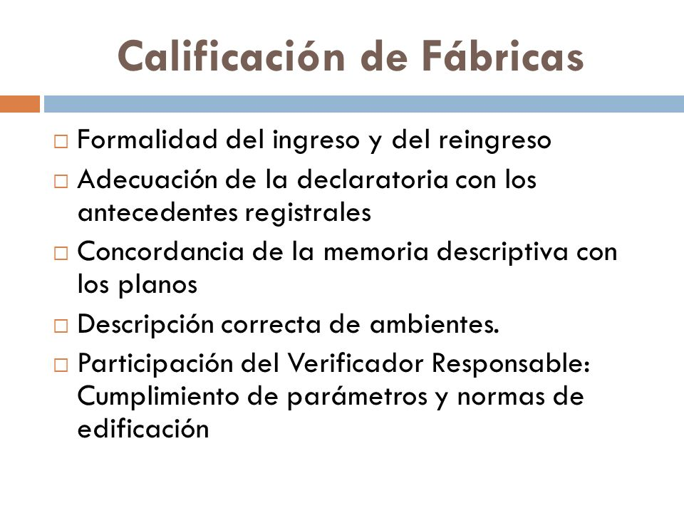 Calificación de Fábricas