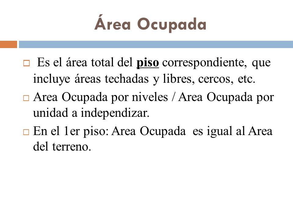 Área Ocupada Es el área total del piso correspondiente, que incluye áreas techadas y libres, cercos, etc.