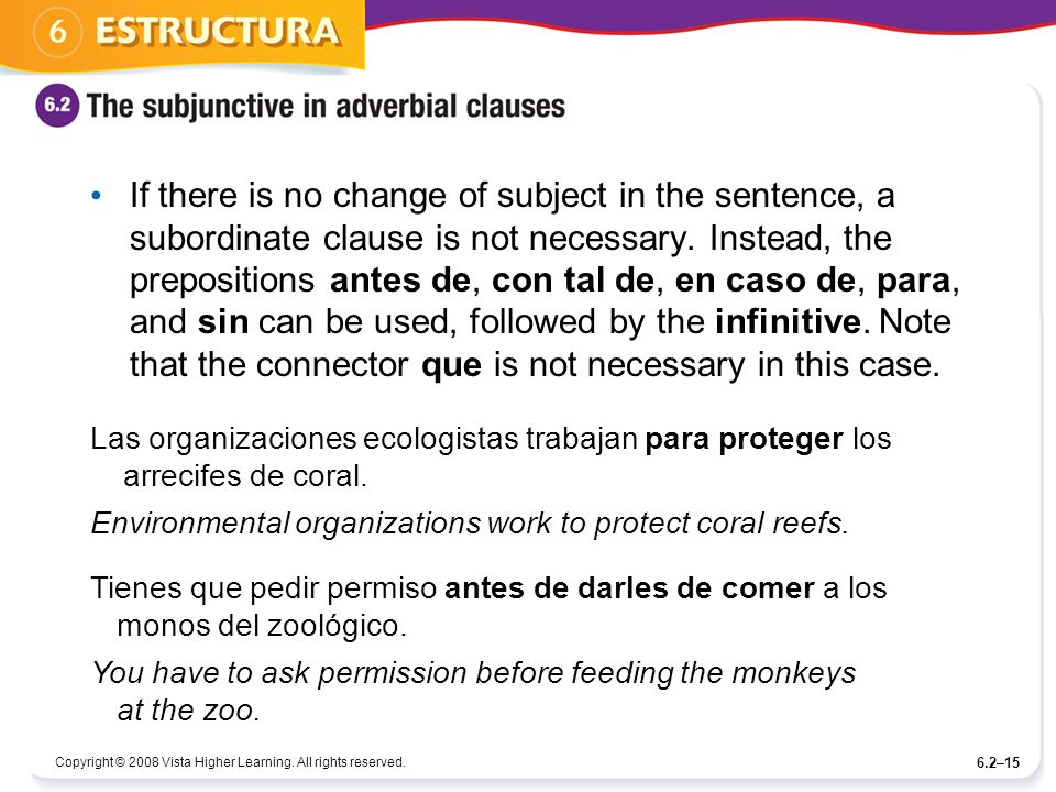 If there is no change of subject in the sentence, a subordinate clause is not necessary. Instead, the prepositions antes de, con tal de, en caso de, para, and sin can be used, followed by the infinitive. Note that the connector que is not necessary in this case.