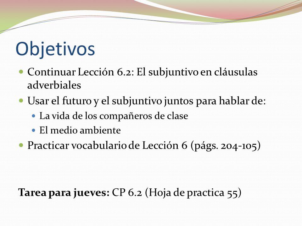 ObjetivosContinuar Lección 6.2: El subjuntivo en cláusulas adverbiales. Usar el futuro y el subjuntivo juntos para hablar de: