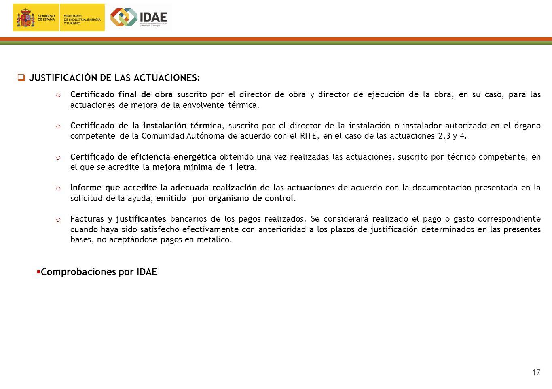 JUSTIFICACIÓN DE LAS ACTUACIONES: