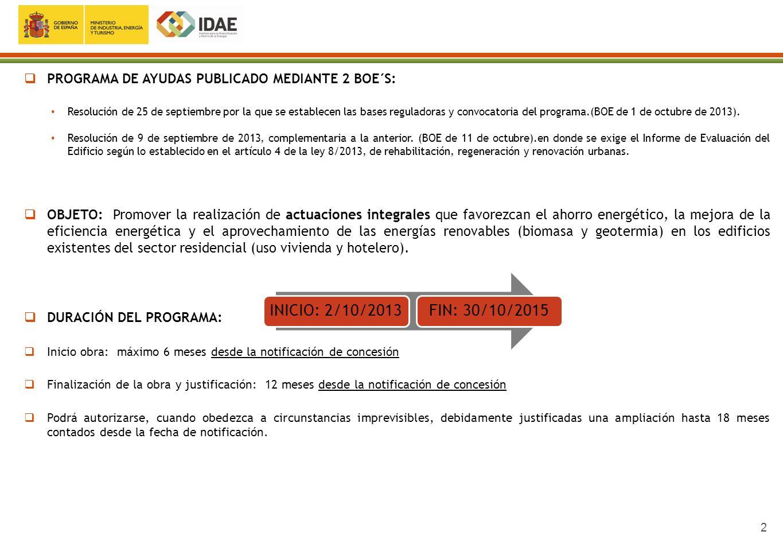 PROGRAMA DE AYUDAS PUBLICADO MEDIANTE 2 BOE´S: