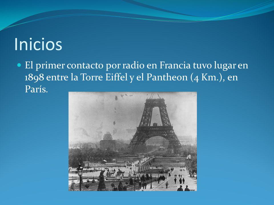Inicios El primer contacto por radio en Francia tuvo lugar en 1898 entre la Torre Eiffel y el Pantheon (4 Km.), en París.