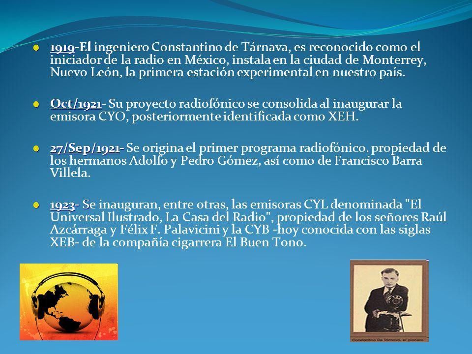 1919-El ingeniero Constantino de Tárnava, es reconocido como el iniciador de la radio en México, instala en la ciudad de Monterrey, Nuevo León, la primera estación experimental en nuestro país.