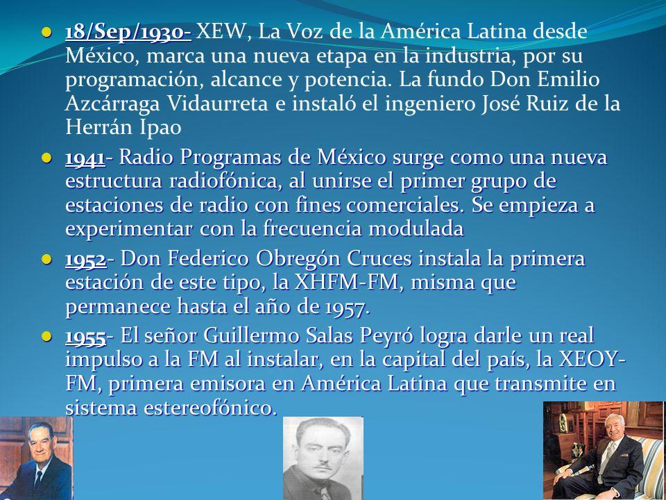 18/Sep/1930- XEW, La Voz de la América Latina desde México, marca una nueva etapa en la industria, por su programación, alcance y potencia. La fundo Don Emilio Azcárraga Vidaurreta e instaló el ingeniero José Ruiz de la Herrán Ipao