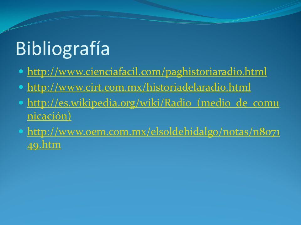 Bibliografía http://www.cienciafacil.com/paghistoriaradio.html