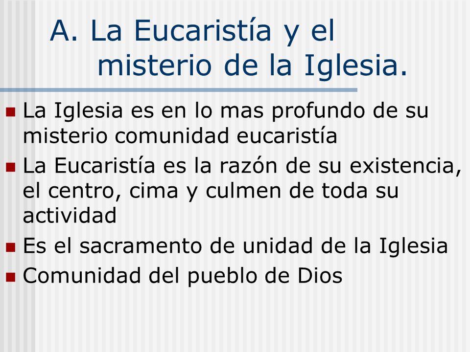 A. La Eucaristía y el misterio de la Iglesia.