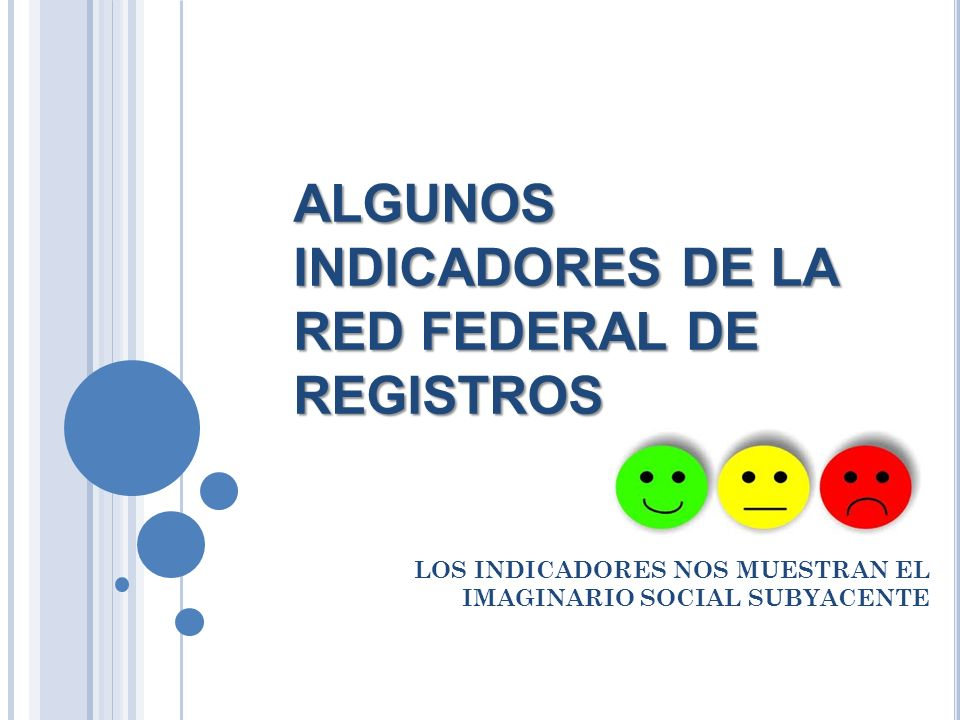 ALGUNOS INDICADORES DE LA RED FEDERAL DE REGISTROS