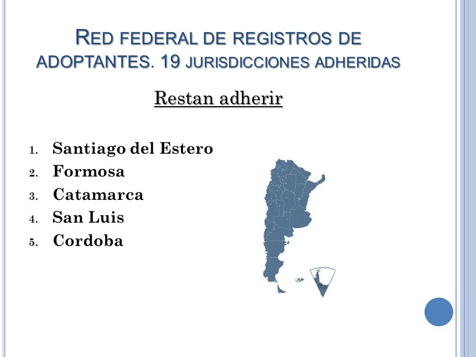 Red federal de registros de adoptantes. 19 jurisdicciones adheridas