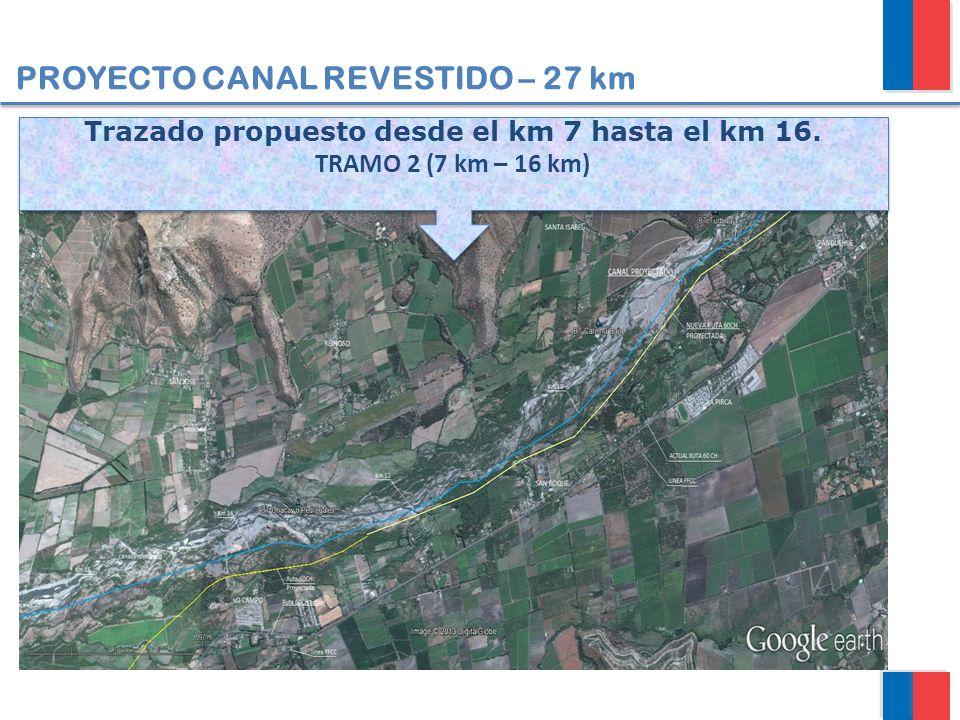 Trazado propuesto desde el km 7 hasta el km 16.