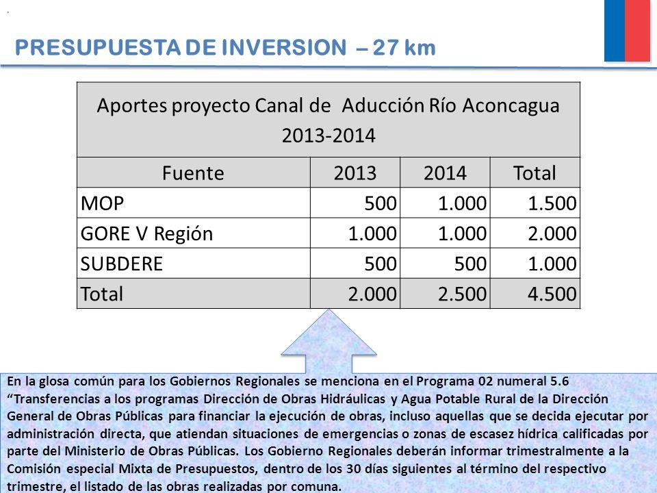 Aportes proyecto Canal de Aducción Río Aconcagua 2013-2014
