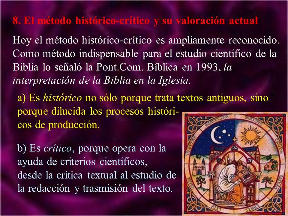 8. El método histórico-crítico y su valoración actual