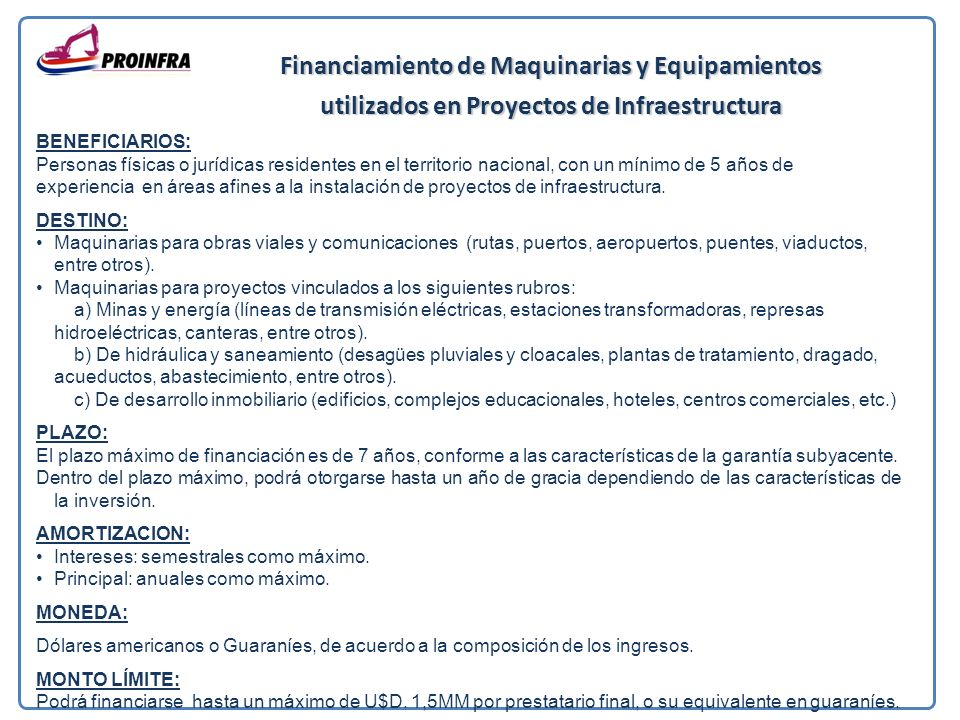 Financiamiento de Maquinarias y Equipamientos