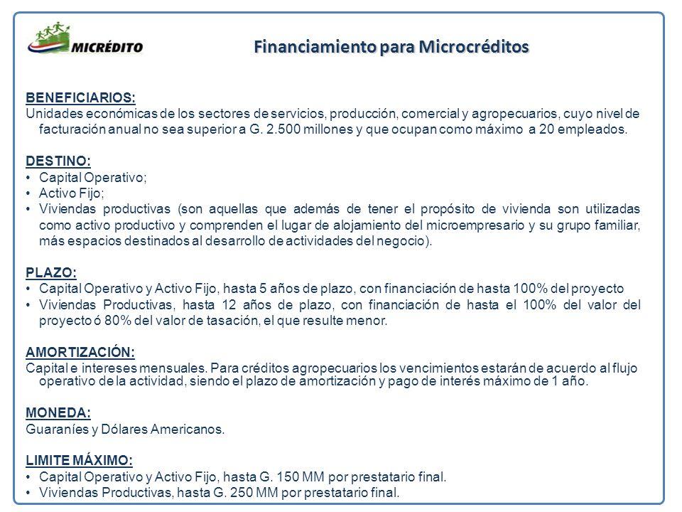 Financiamiento para Microcréditos