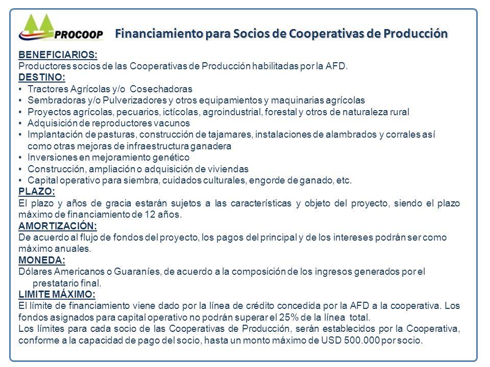 Financiamiento para Socios de Cooperativas de Producción