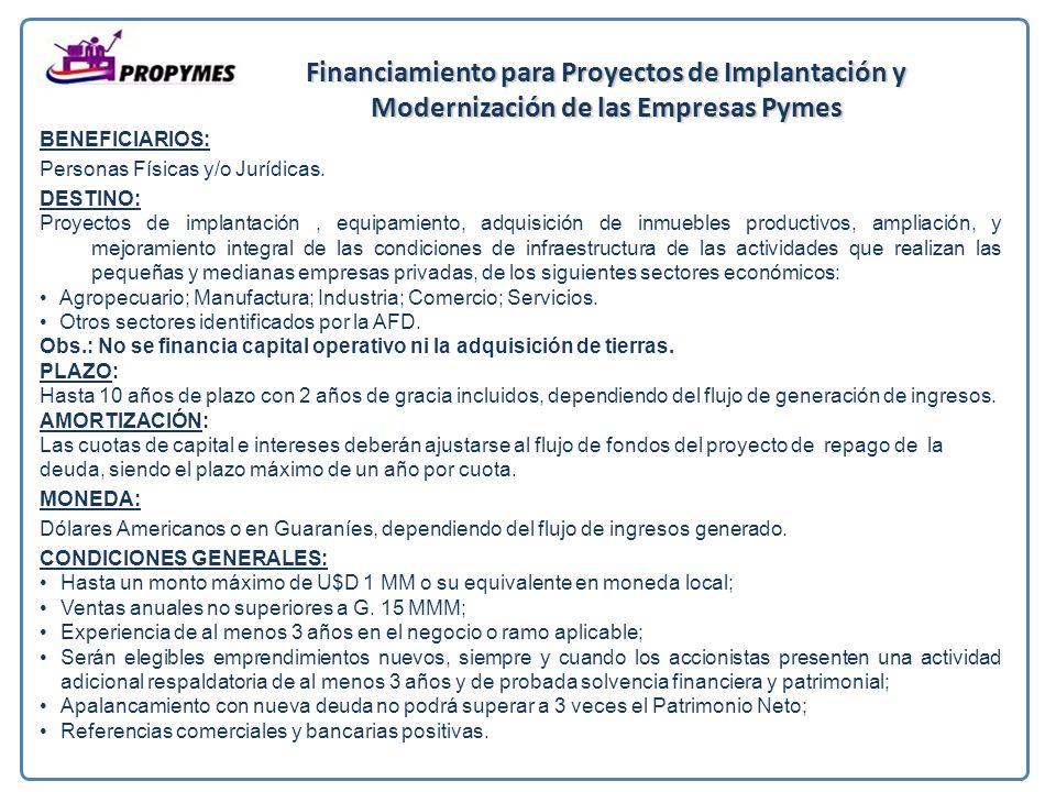 Financiamiento para Proyectos de Implantación y Modernización de las Empresas Pymes