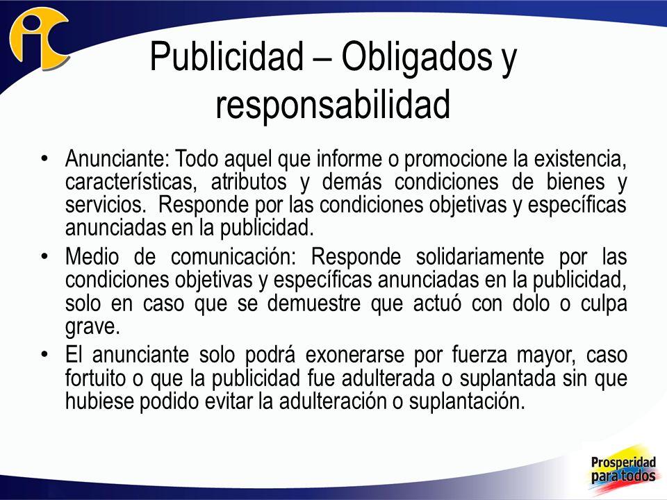 Publicidad – Obligados y responsabilidad